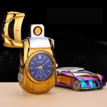 Fashion Metal Racing Car USB Electronic Lighter Watch Lacquer Electric Wire Rechargeable Windproof Multifunctional Cigar Lighter