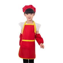 New Apron for Children Junior Chef Kids Sleeves Hat Set Pocket Kitchen Baking Painting Cooking Craft Art Bib Apron Print Logo