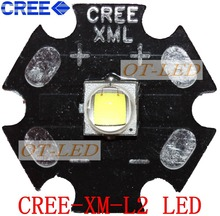 Free shipping!5PCS  CREE  XML2 LED XM-L2 T6 U2 10W Neutral White 4500-5000K  High Power LED Emitter Bulb with 20mm Heatsink