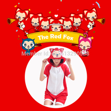 Free Shipping Cheap Female Summer Short-sleeve Sweet Nightgown Cotton Cosplay Costume Red Fox Pajama Set Dress Onesies(China)