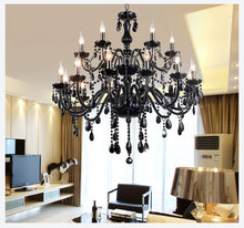 18/15/10/8/6 Lights arms Luxury black crystal Chandelier lighting candle lamp brief fashion living room lamp chandelier lighting