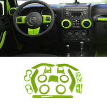 18pcs Full Set Interior Decoration Cover Trim Kit Door Handle Air Conditioning Vent Trims For Jeep Wrangler Jk 2011-2016 Green
