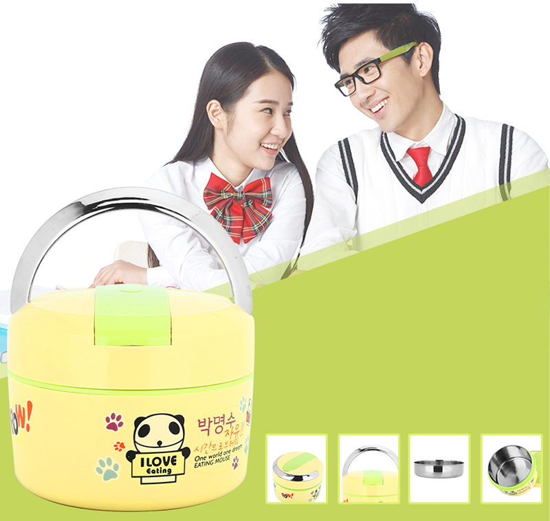 Cute Cartoon 304 Stainless Steel Lunchbox Thermal Insulation Food Storage Container Portable Handle Picnic Bento Lunch Box 9
