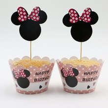 Hot Sale Event Party Supplies Birthday Decoration Cupcake Wrappers Minnie Mouse For Kids Birthday Party Cup Cake Toppers Picks
