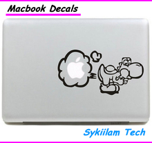 Super Mario Yoshi Fart Cartoon Sticker for apple Macbook Skin Air 11 13 Pro 13 15 17 Retina Decal Laptop Auto Wall Vinyl Case
