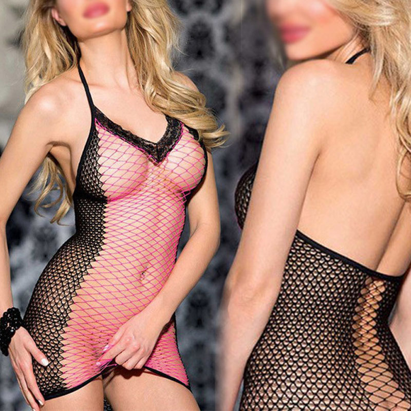 Sexy mesh mini dress underwear Backless Buttock Fashion lingeries Fishnet Bare Decoration Erotic transparent bodystocking(China)