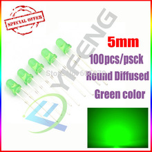 100 PCS/Lot 5MM Green LED Diode Round Diffused Green Color Light Lamp F5 DIP Highlight New Wholesale Electronic(China)