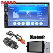 "REAKOSOUND Car Video Players 7018B 7"" LCD HD 2 DIN Car In-Dash Touch Screen Car Stereo FM MP3 MP5 Radio Player+1/4 CMOS Camera"