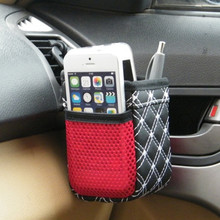 Car Auto Grid Net Air Vent Outlet Sundries Cell Phone Storage Bag Box Case Pouch Pocket Holder - Random Color
