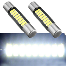 Reading Light White 29mm 4014 Fuse Style 9SMD LED Replace Bulb Auto Vanity Mirror Lights 12V DC Sun Visor Lamps For Cars 2pcs(China)