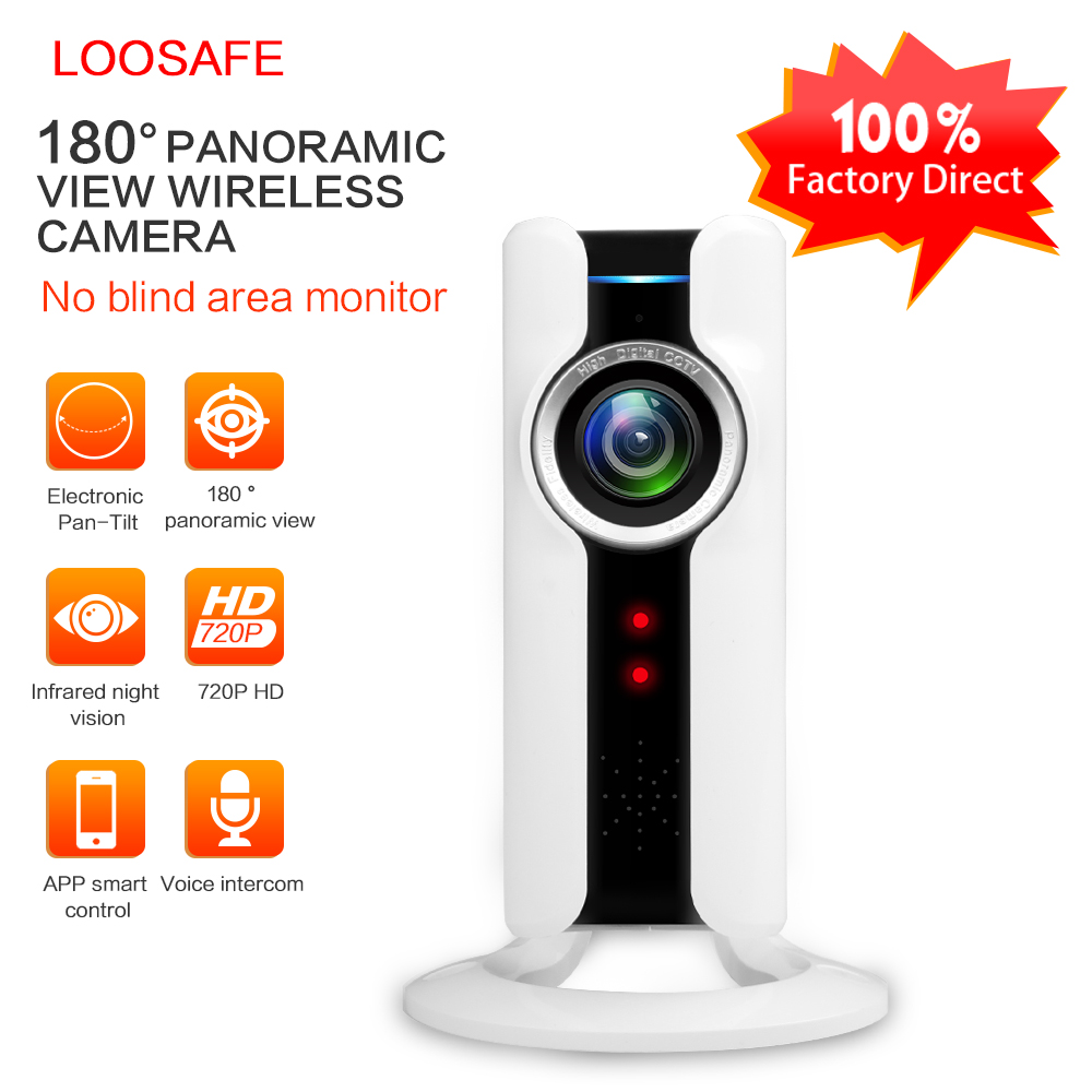 LOOSAFE Panoramic Fisheye Lens IP Camera WIFI Wireless Mini Surveillance Camera 180 Degree Video Cam IP Webcam Wi-Fi 720p IP Cam<br>