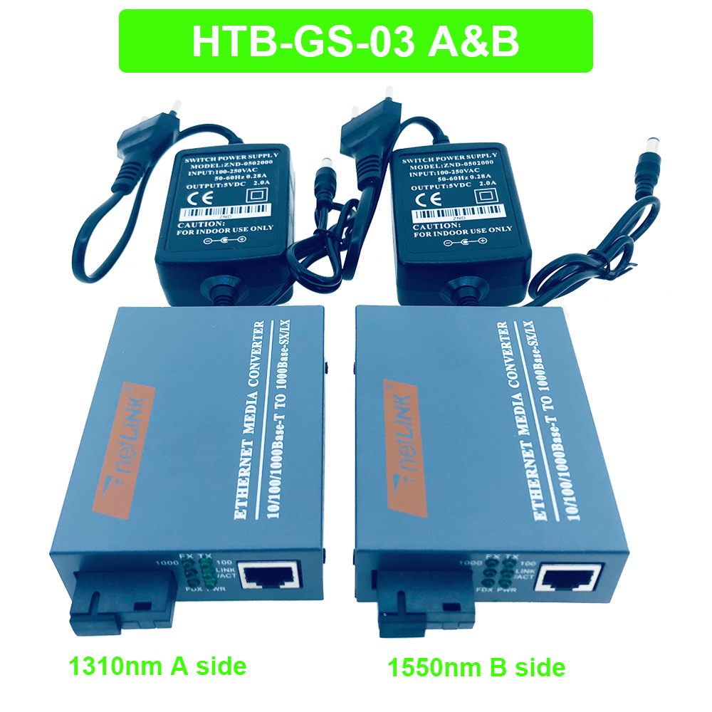 2pcs Fiber Optical Media Converter 100//1000Mbps Gigbit RJ45 Single mode 25KM