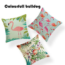 Decor Tropical Plants Flamingo Cushion Covers Chic Chevron Cushion Fundas Camping Stripe 18 Inch Linen Replacement Hawaii Cojin