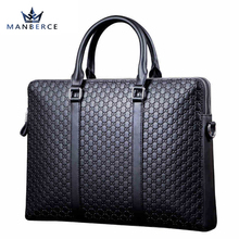MANBERCE Top Cow Genuine Leather Bag Obag Handles Business Men Bags Crossbody Laptop Briefcases Travel Bags Bolsas Victor Hugo(China)