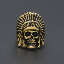 2017 Vintage Gold Color Skull Head Rings For Men Stainless Steel Lion Head Hip Hop Hiphop Mens Rings Punk Ring Drop Shipping(China)