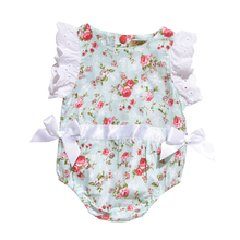 Fashion Rose Floral Printed Cotton Baby Rompers Vintage Baby Girl Romper Lace Floral Overalls For Children Baby Clothes 0-24M