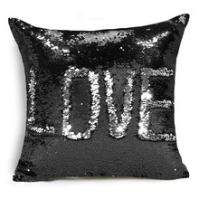 Created Hot DIY Two Tone Glitter Sequins Throw Pillows Cafe Home Decorative Cushion Case Sofa Car Covers(China)