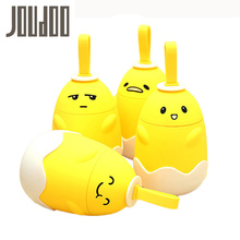 JOUDOO Cute Funny Egg Shape Water Bottle Non-slip Plastic Cover Glass Bottle 290ml Portable Children School Drinking with Rope(China)