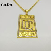 CARA New Men Bling Bling Full Rhinestone Dream Chaser Pendants Necklaces men hip hop Gold color Zinc alloy DC necklace CARA0258