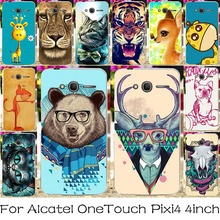 Plastic Silicone Phone Case For Alcatel OneTouch Pixi 4 4.0 inch OT4034 One Touch Pixi4 4034 Covers Colorful Animal Housing Bag