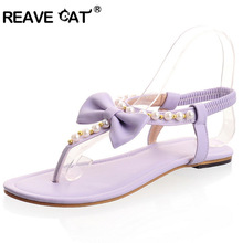 REAVE CAT Large size 31-45 Brand sandals Women summer sandals Sweets Fashion White Purple Green Pink Beading Elastic QL4204