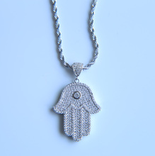 2017 popular Luxury silver gold color micro pave Cubic zirconia hamsa hand pendant necklace women men bling hip hop necklace