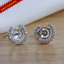 Vintage Design Stud Earrings Fittings S925 Silver Pearl Earrings Jewelry Findings&Component DIY Silver Jewelry Parts