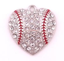 New products 50pcs a lot rhodium plated zinc with sparkling Yellow crystals Baseball or softball Heart sports Pendant(China)
