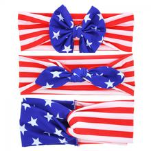 1PC Unisex Cute Girls Boys Rabbit Bow Twist Head Wrap Turban Knot Headband 4th of July American Flag Hairband Band Accessories(China)