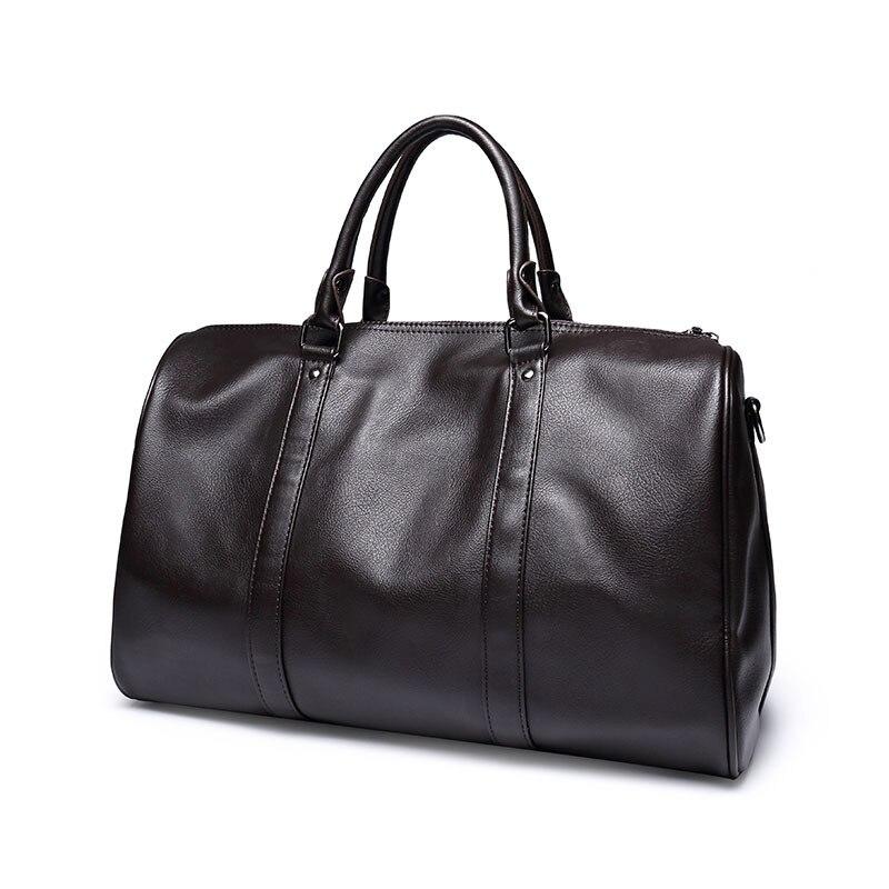 Fashion mens leather travel bag vintage duffle handbags large men business luggage bag with shoulder strap sac voyages hommes<br>