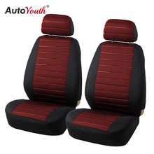 AUTOYOUTH 2PCS Car Seat Covers 5MM Foam Airbag Compatible 2017 New arrival Universal Fit Most Vans Minibus Separated Car Seat(China)