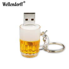 Wholesale Beer Cup USB Flash Drive 4GB 8GB 16GB 32GB 64GB Pendrive Waterproof Pen Drive USB 2.0 USB Stick Memory Stick(China)