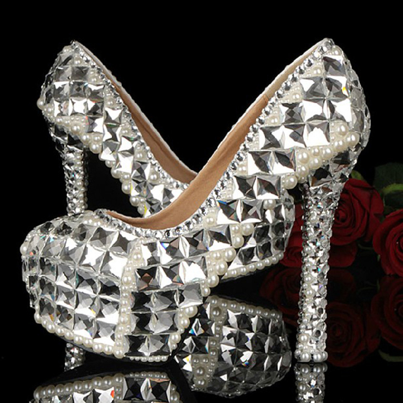 Sparkling Bridal Wedding Shoes High Heel Crystal Rhinestone Shoes for Bride Banquet Evening Party Shoes Handmade Dress Shoes<br><br>Aliexpress