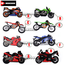 For YAMAHA HONDA SUZUKI KAWASAKI HARLEY Z800 YZF-R6 Model Motorcycle Accessories Cool Rubber Keychain Key Ring Keyring Yey Chain