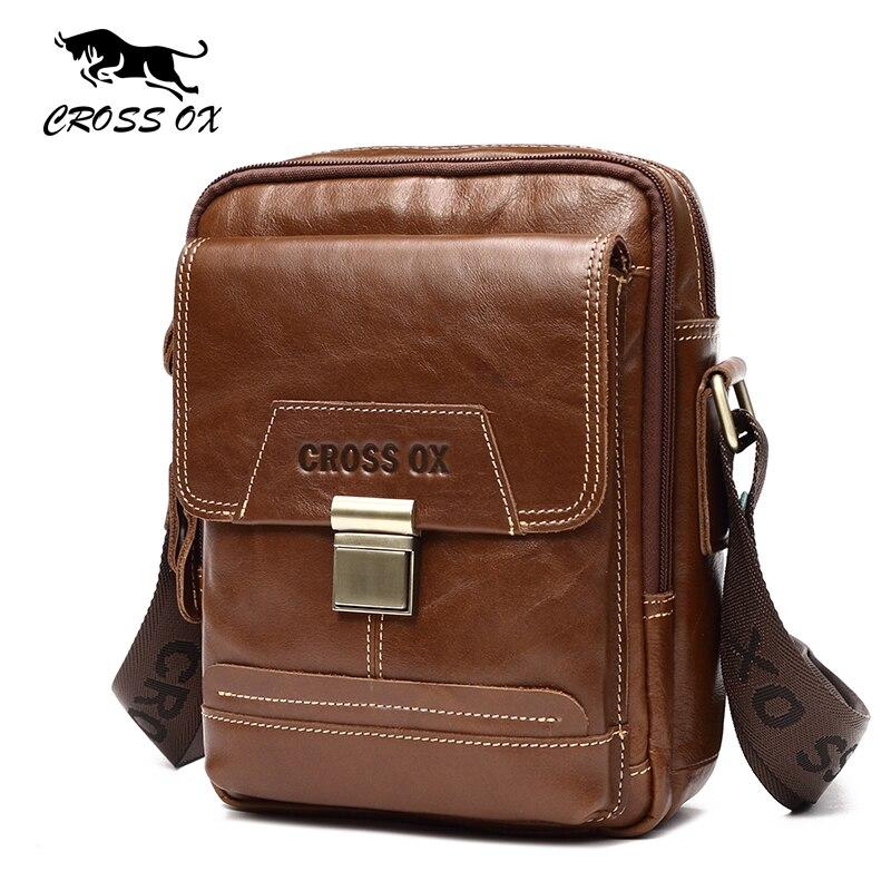 CROSS OX 2017 Summer New Arrival Genuine Leather Handbag Men Shoulder Bag Fashion Cow Leather Male Messenger Bag SL412M<br>