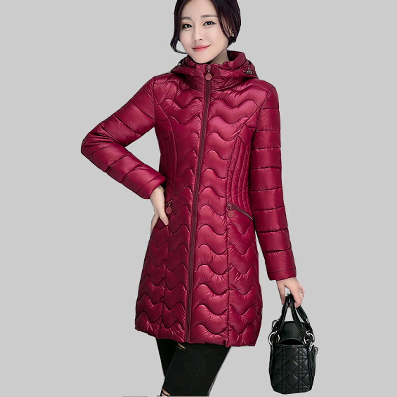 2017 Winter New Korean Slim Coat Women Midum Long Down Cotton Jacket Plus Size M/3XL Padded Jackets Fashion Hooded Parkas JA667Одежда и ак�е��уары<br><br><br>Aliexpress