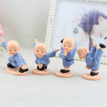 4pcs/set Gongfu Little Monk Figurines Car Home  Decoration Ornaments Resin Crafts Shaolin Temple Miniatures Toys Gifts Souvenirs