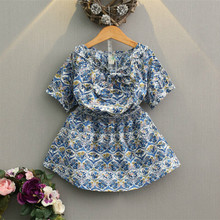 Girls Dresses Off Shoulder Causal Dress Frock Floral Pattern Summer Beach Short Sleeve Vintage for girl age 3 4 5 6 7 Years 2017