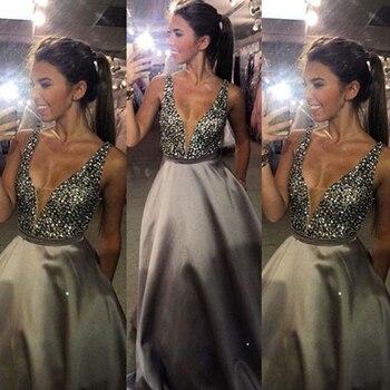 Réel Photos Gary Couleur Cristal V Cou robe de Bal Formelle Longue Robe De Soirée De Bal Parti OL102922