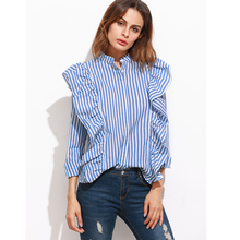 FF Blue Pink Striped Ruffle Blouse Women 2017 Spring Summer Long Sleeve Ruffles Blouse Shirts Women Casual Blouses Tops Female