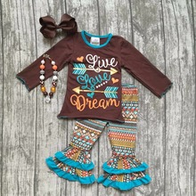 thanksgiving Fall/Winter baby girls outfits pant Aztec arrow live love dream children clothes ruffle boutique with accessory(China)