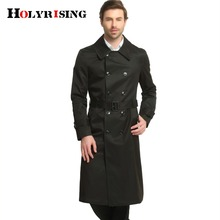 2017 British Style Casual Winter Trench Coat Men Double Button Jackets Long Sleeve Slim Outwear Khaki Black S-6XL Windbreaker(China)