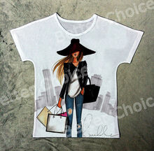 Track Ship+New Vintage Retro T-shirt Top Tee Cool Black Hat Young Fashion Girl Shopping in City Mall 1244(Hong Kong)