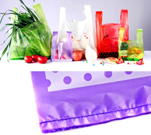 Plastic bag with handles plastic shopping Bags for food Supermarket Colorful Smiling bags fruit bags for vegetable(China)