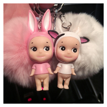 Fluffy Rabbit Fur Ball Pompom Keychain Bunny Doll Keyring Fur Pompons Key Chain Chaveiro Small Bell Porte Clef Pompom Keychain(China)