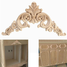 Home Decoration Accessories Furniture Appliques Woodcarving Corner Decal Wooden Applique Decor Frame Wall Door Woodcarving Decal(China)
