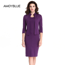 Amoyblue 2017 Spring/Summer Women Purple Zipper Cotton Two Piece Suit Pencil Dress Slim Casual Ladies Day Dresses on Sale