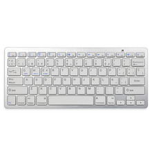 Spanish Bluetooth V3.0 Keyboard Ultra Slim Wireless Keyboard 78-Key for Windows PC Android iOS Tablet Smartphone - Silver(China)