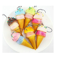 Squishy Cell phone Charms Kawaii Ice cream Key Chain with Sprinkles Gift Bag Straps