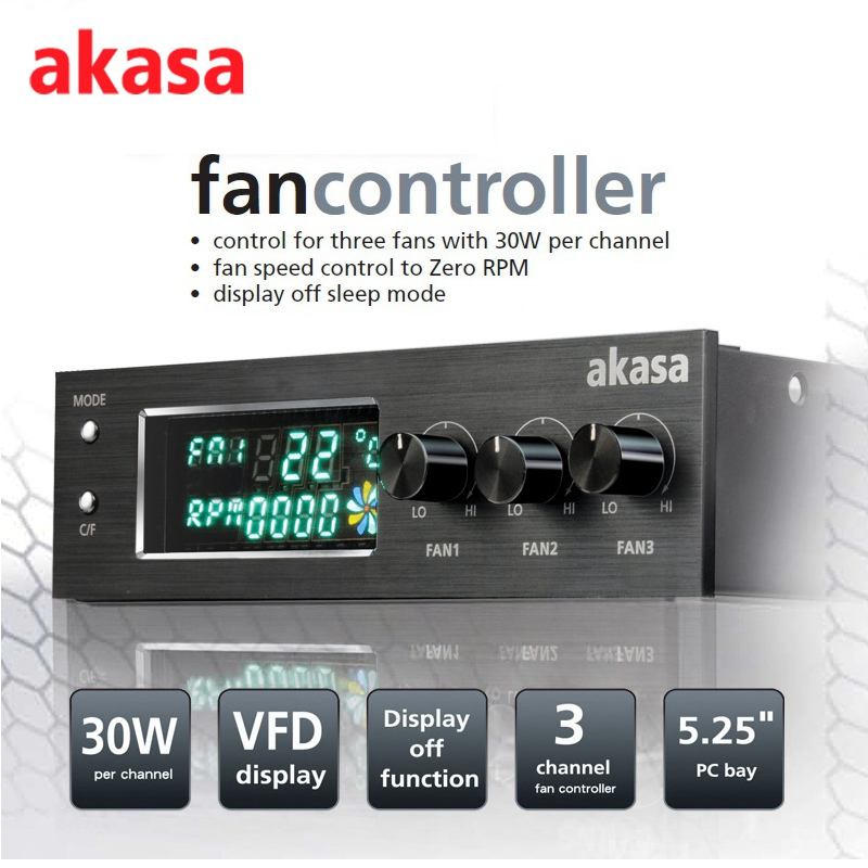 Akasa Fan Controller VFD LCD Front Panel Display 5.25 Inch PC Bay 3 Channel Temperature Monitoring Alarm Controller for CPU Fan<br>